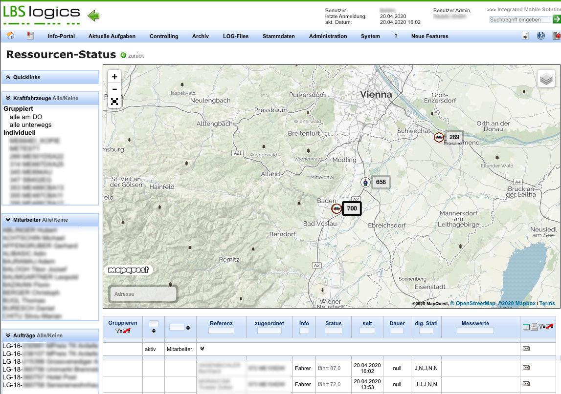 GPS Tracking & Tracing - Fahrzeugübersicht