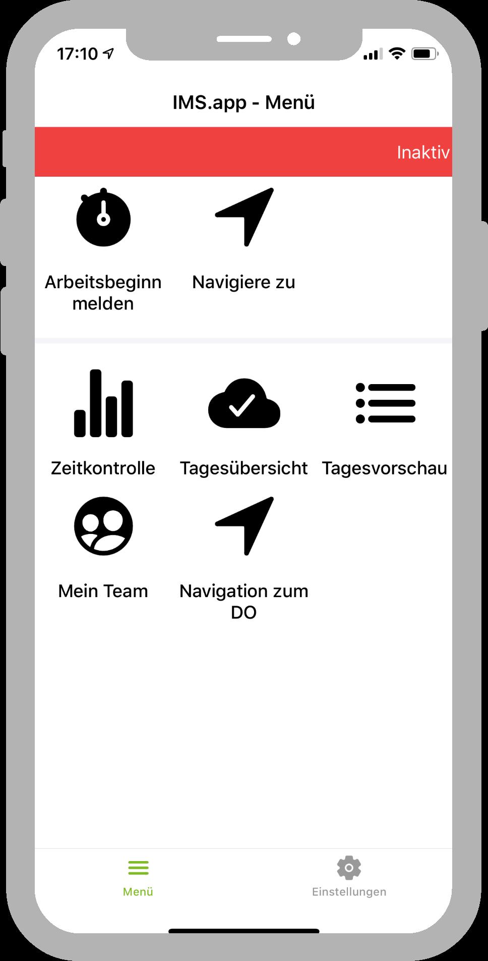 IMS.app Menü Arbeitsbeginn melden