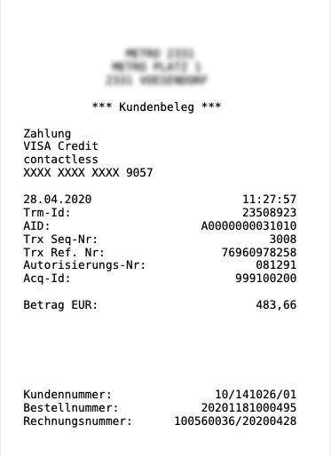 Kundenbeleg nach erfolgter Zahlung via IMS.app