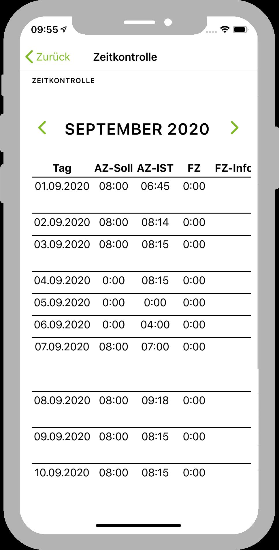 Zeitkontrolle durch den Mitarbeiter in der IMS.app