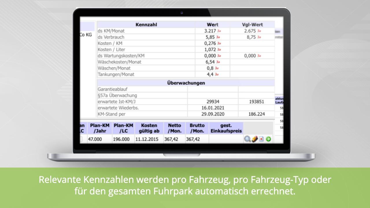 Fuhrparkmanagement: Kennzahlen zu einem Fahrzeug