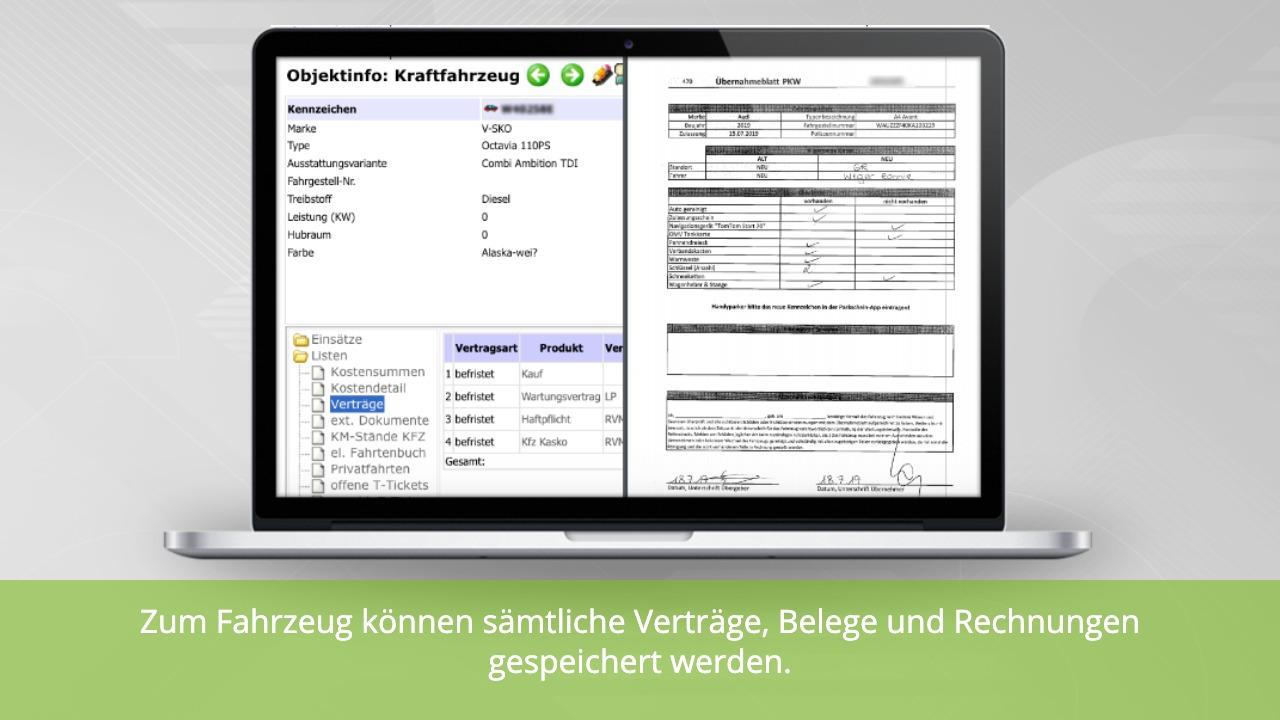 Fuhrparkmanagement: Verträge zu einem Fahrzeug