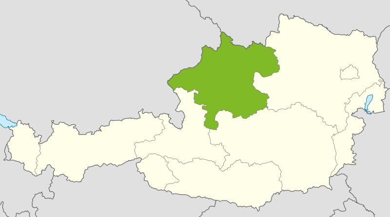 Österreichkarte: Oberösterreich ist hervorgehoben
