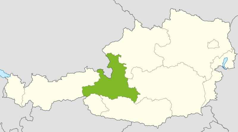 Österreichkarte: Salzburg ist hervorgehoben