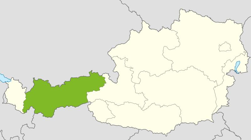 Österreichkarte: Tirol ist hervorgehoben